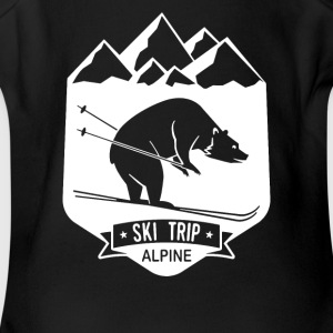 Bear Ski Trip Skiing - Short Sleeve Baby Bodysuit