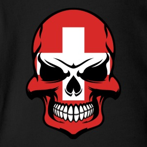 Swiss Flag Skull Cool Switzerland Skull - Short Sleeve Baby Bodysuit