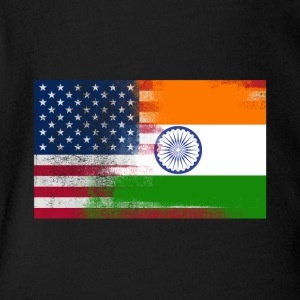 Indian American Half India Half America Flag - Short Sleeve Baby Bodysuit