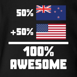 50% New Zealand 50% American 100% Awesome Flag - Short Sleeve Baby Bodysuit