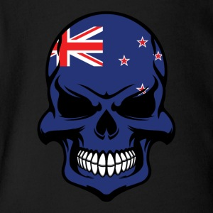 Kiwi Flag Skull Cool New Zealand Skull - Short Sleeve Baby Bodysuit