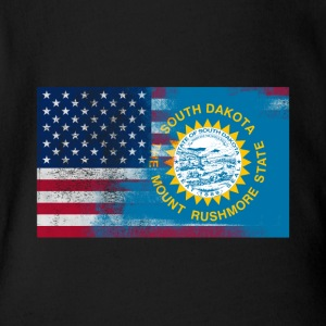 South Dakota American Flag Fusion - Short Sleeve Baby Bodysuit