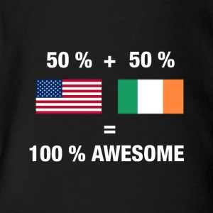 Half Irish Half American 100% Ireland Flag - Short Sleeve Baby Bodysuit