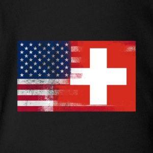 Swiss American Half Switzerland Half America Flag - Short Sleeve Baby Bodysuit