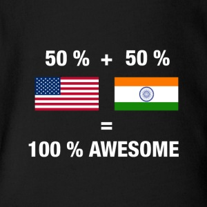 Half Indian Half American 100% India - Short Sleeve Baby Bodysuit