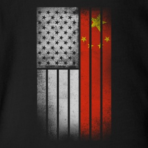 Chinese American Flag - Half Chinese Half American - Short Sleeve Baby Bodysuit