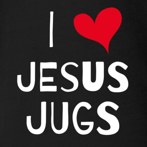 I HEART JESUS JUGS - Organic Short Sleeve Baby Bodysuit