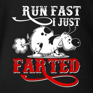 RUN FAST I JUST FARTED - Funny Dog Products - Short Sleeve Baby Bodysuit