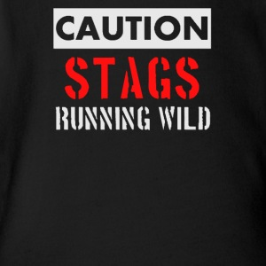 Caution stags running wild - Short Sleeve Baby Bodysuit