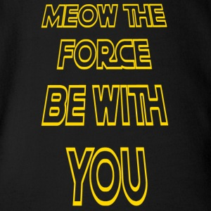 Meow The Force Be With You/ Yellow Outline - Short Sleeve Baby Bodysuit