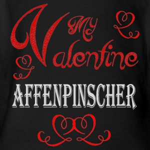 A romantic A romantic Valentine with my Affenpinsc - Short Sleeve Baby Bodysuit