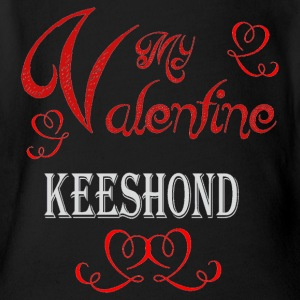 A romantic Valentine with my Keeshond - Short Sleeve Baby Bodysuit