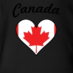 Canada Flag Heart - Short Sleeve Baby Bodysuit