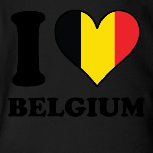 I Love Belgium Belgian Flag Heart - Short Sleeve Baby Bodysuit