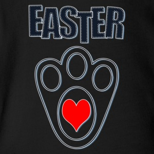 Easter Bunny Footprints, Easter Heart Bunny - Short Sleeve Baby Bodysuit