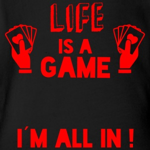 LIFE IS A GAME - IAM ALL IN red - Short Sleeve Baby Bodysuit