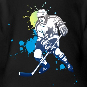 icehockey hockey player ice splash team play off l - Short Sleeve Baby Bodysuit