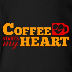 COFFEE STARTS MY HEART - Short Sleeve Baby Bodysuit