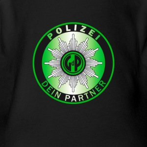 polizei green Police Slogan german Partner fun hum - Short Sleeve Baby Bodysuit