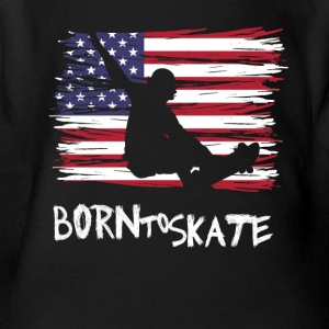 Born to skate America flag usa Pride Street fun lo - Short Sleeve Baby Bodysuit