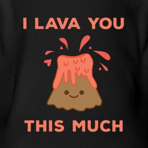 I Lava You This Much Cute Volcano - Short Sleeve Baby Bodysuit