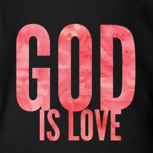God is love - Pink - Short Sleeve Baby Bodysuit
