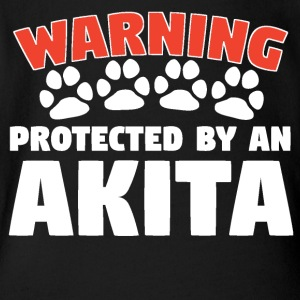 Warning Protected By An Akita - Short Sleeve Baby Bodysuit