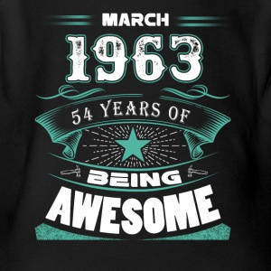 March 1963 - 54 years of being awesome (v.2017) - Short Sleeve Baby Bodysuit