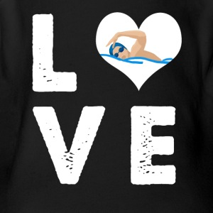 Love swimming - Short Sleeve Baby Bodysuit