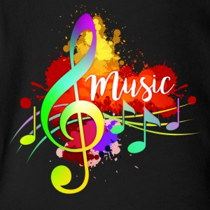 Funky Colorful Music Treble Clef Musical Note Art - Short Sleeve Baby Bodysuit