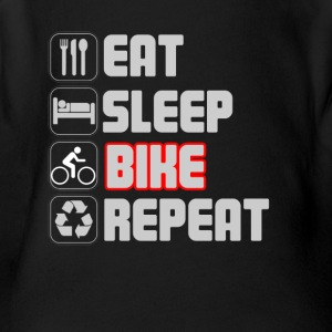 Eat Sleep Bike Repeat T-shirt - Short Sleeve Baby Bodysuit
