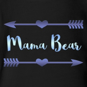 Mama Bear- Blue Gradient Design - Short Sleeve Baby Bodysuit