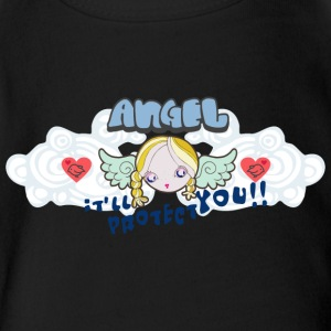 angel protection - Short Sleeve Baby Bodysuit