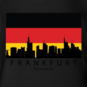 Frankfurt Germany Skyline German Flag - Short Sleeve Baby Bodysuit