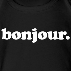Bonjour - Fun Design (White Letters) - Short Sleeve Baby Bodysuit