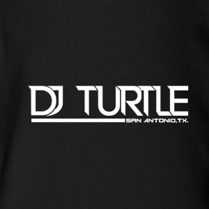 dj turtle white logo - Short Sleeve Baby Bodysuit
