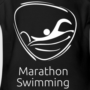 Marathon_swimming_white - Short Sleeve Baby Bodysuit