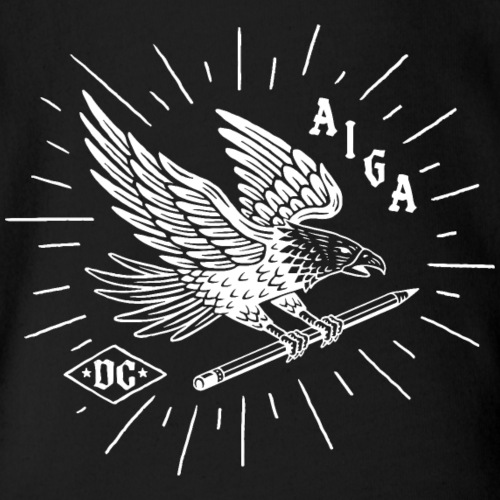Fly Like an AIGA DC Eagle (white) - Organic Short Sleeve Baby Bodysuit