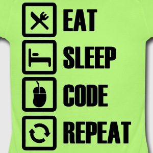 Eat sleep code repeat - Short Sleeve Baby Bodysuit