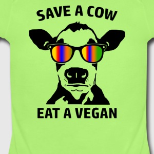 Save a Cow Eat a Vegan - Short Sleeve Baby Bodysuit