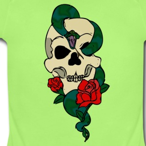 skulls and rose shirt - Short Sleeve Baby Bodysuit