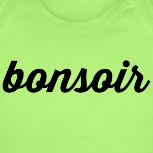 Bonsoir - Cursive Design (Black Letters) - Short Sleeve Baby Bodysuit
