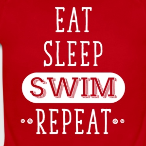 Eat Sleep Swim repeat - Short Sleeve Baby Bodysuit