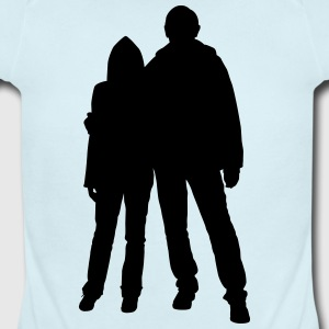 Happy couple silhouettes - Short Sleeve Baby Bodysuit