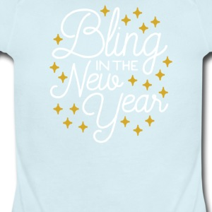 Bling In The New Year with Stars - Short Sleeve Baby Bodysuit