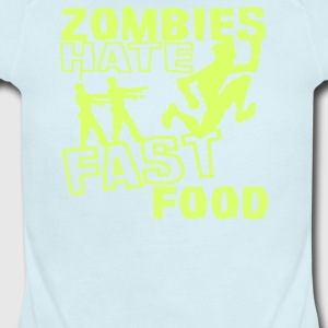 Zombies Hate Fast Food Funny - Short Sleeve Baby Bodysuit
