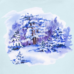 winter-landscape-drawing-painting-watercolor - Short Sleeve Baby Bodysuit