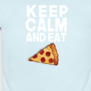 Keep Calm and Eat Pizza - Short Sleeve Baby Bodysuit