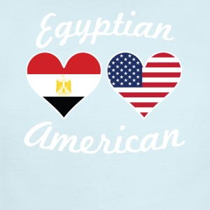 Egyptian American Flag Hearts - Short Sleeve Baby Bodysuit