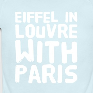 Eiffel in louvre with paris - Short Sleeve Baby Bodysuit